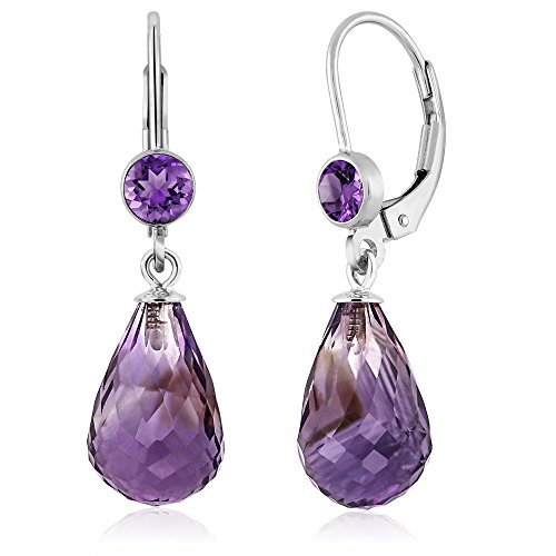 Gem Stone King 925 Sterling Silver Briolette Amethyst Gemstone Birthstone Women Drop Earrings (10.00 cttw, - Dangle Briolette Amethyst