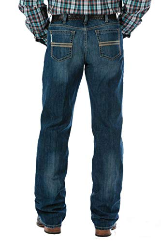 Cinch Men's White Label Relaxed Fit Jean, Medium Stonewash Performance Blue, 26x34 (Mens Cinch)