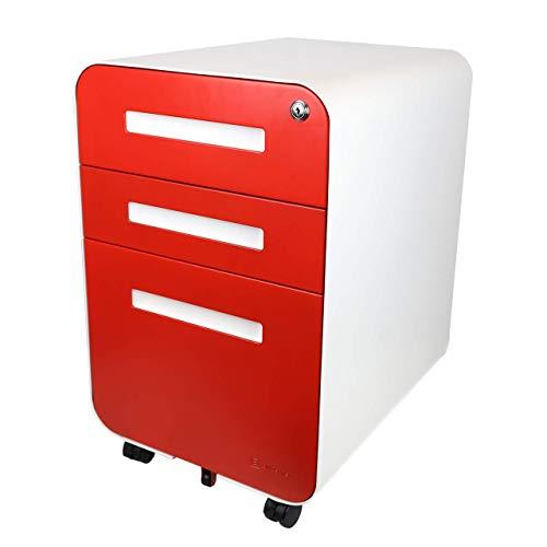 Bindertek Glide 3-Drawer Locking File Cabinet, File Storage, Letter/Legal Size Hanging Folders, Fully Assembled, Steel Constructed, Red (Glide-RD) (Red Letter Cabinet File)