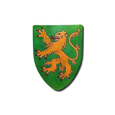 Rampant Lion Medieval Shield - 16 Gauge Steel Battle Ready - Green - One Size