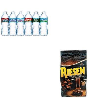 kitnle101243rsn398052-value-kit-riesen-chocolate-caramel-candies-rsn398052-and-nestle-bottled-spring
