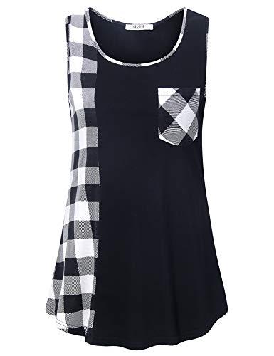 Vivilli Women Sleeveless U Neck Tank Tops Casual Plaid Tunic Blouse Shirts Black White Large