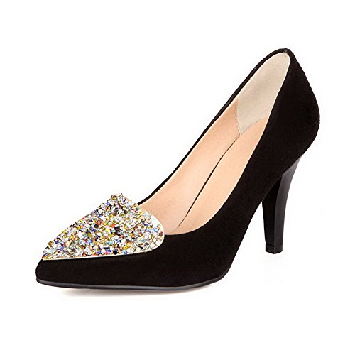 VogueZone009 Womens Closed Pointed Toe High Heels Suede Frosted Solid Pump Shoes with Glass Diamond Black T4XNNa