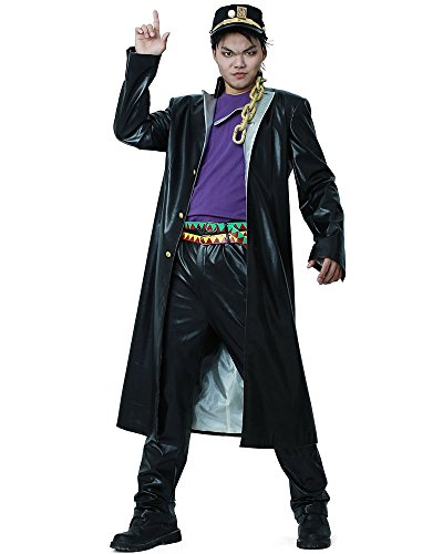 miccostumes Men's Jotaro Kujo PU Leather Cosplay Costume (Men M) Black