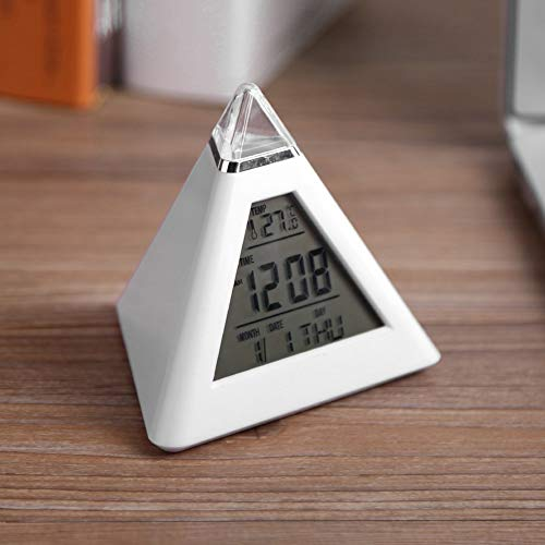 (GOTOTOP Kids Alarm Clock, 7 Colors Changing Night Light LED Wake Up Alarm Clock with Temperature Display Pyramid Digital Clock for Adults, Kids, Teens 8 Nature Sounds Sleep Timer )