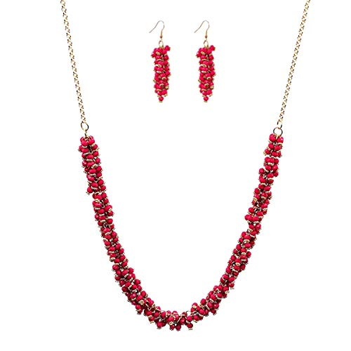 Karen accessories Beaded Cluster Necklace with Dangle Earrings Set, Fashion Bohemian Gold Tone Long Stratement Jewelry Set for Women (Rose Pink)