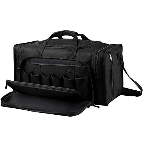 Bag Range Black - SoarOwl Tactical Gun Range Bag Shooting Duffle Bags for Handguns Pistols with Lockable Zipper and Heavy Duty Antiskid Feet(Black)