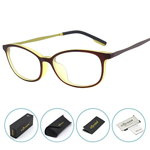 GQUEEN Blue Light Blocking Computer Glasses,Anti Glare Eye Fatigue with TR90 Matte Frame Transparent - For Eyewear Users Computer Protective