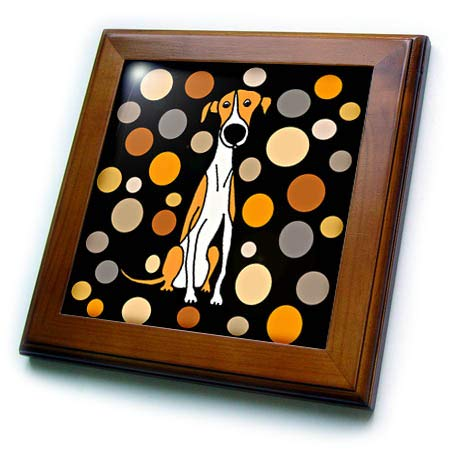 3dRose All Smiles Art - Pets - Funny Cute Greyhound Dog and Circle Pattern Abstract Art - 8x8 Framed Tile (ft_294546_1)