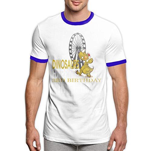 MiiyarHome Men's Ringer T-Shirt Dinosaur Types, Men Short Sleeves Jersey Causal Tee Blue - Ringer Dinosaur T-shirt