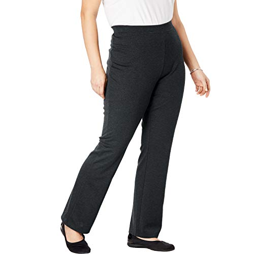 (Woman Within Women's Plus Size Tall Bootcut Ponte Stretch Knit Pant - Heather Charcoal, 22 T)
