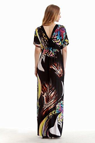 De Mujer V Vestidos Print Fiesta Señoras Dress Murciélago Black Anchas Tallas Casuales Grandes Patrón Playa Mangas Largos Cuello Verano Vestido 2 Dresses Moda Elegante 5OOqS