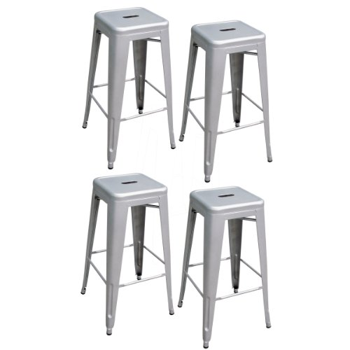 AmeriHome Metal Bar Stool Set, 30-Inch, Silver, Set of 4 by AmeriHome