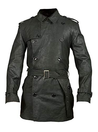 T&I Texas Black Mens Leather Trench Coat - Leather Trench Coat
