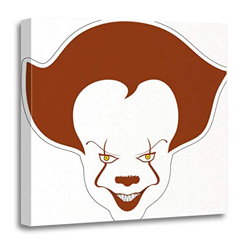 Semtomn Canvas Wall Art Print Evil Clown Scary Cartoon Character Circus Creepy Drawing Face Artwork for Home Decor 12 x 12 Inches