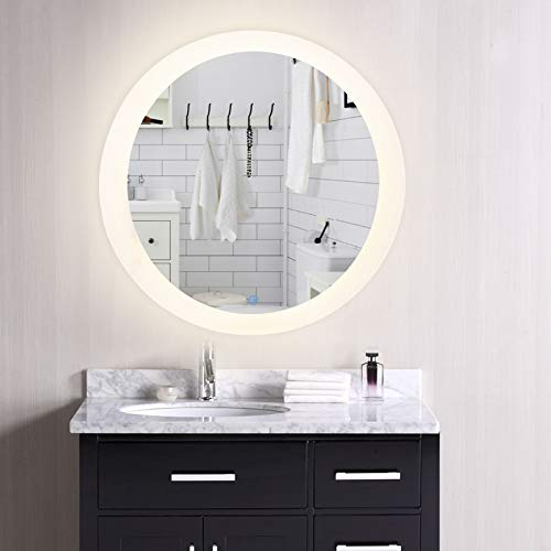 CO-Z Dimmable Round LED Bathroom Mirror, Plug-in Modern Lighted Wall Mounted Mirror with Lights&Dimmer, Contemporary Fogless Light Up Backlit Touch Vanity Cosmetic Bathroom Mirror Over Sink