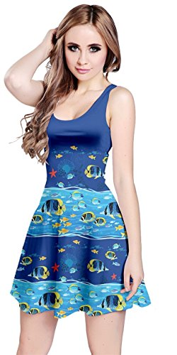 Fish Under Womens Jellyfish Sleeveless Turquoise CowCow 5XL Blue Sea Dolphin Octopus Turtles Whales Dress Animals XS qz1dw6z