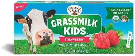 Organic Valley, Grassmilk Kids Whole Milk Yogurt Tubes, Strawberry, 2oz, 8 count