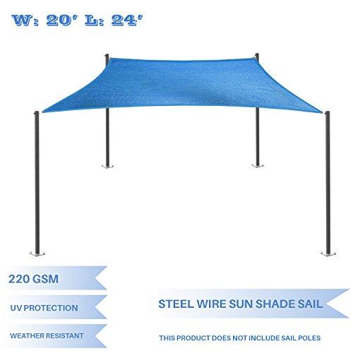E K Sunrise 20 x 24 Strengthen Large Sun Shade Sail Reinforced by Steel Wire- Blue Rectangle Heavy Duty – 220 GSM -Perfect Patio Outdoor Garden Backyard