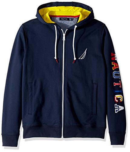 Nautica Men's Full Zip Collegiate 100% Cotton Hoodie Jacket, Navy Medium ()