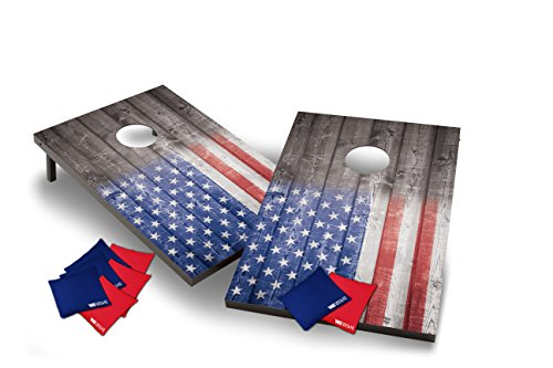 (Wild Sports Stars and Stipes Cornhole Set, Flag on Distressed Wood, Two 2' x 3' Boards and 8 Bags)