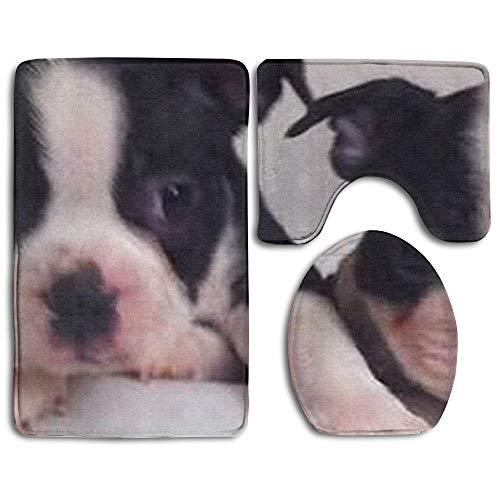 New Dog Boston Terrier Popular Bath 3-Piece Rug Set for Unisex