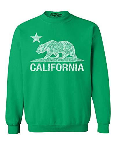 Shop4Ever California Distressed White Bear Crewnecks Cali Sweatshirts Small Irish Green 0