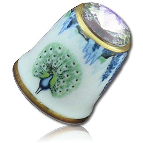 Custom & Collectible {25mm Hgt. x 19mm Dia.} 2 Pack Of, Mid-Size Sewing Thimble Made of Fine-Grade Porcelain Glass w/ Collectible Vintage Animal Lover Outdoor Peacock Bird Art Design {Multicolor}