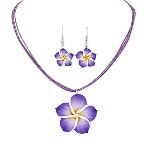 BetteRWeatheR Hawaiian Plumeria Flower Necklace and Earring Jewelry Set Handmade Beach Girl Reggae Jamaican Jewelry Adjustable (Purple) Plumeria Flower Necklace