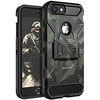 iPhone 8 Case,iPhone 7 Case,iPhone 6 Case,iPhone 6s Case HUATRK Kickstand Three Layer Heavy Duty Shockproof Protective Camo Cover,Camouflage Green