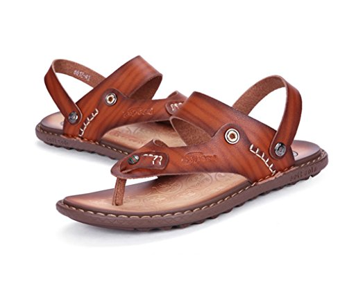 Open Flip Ankle Sandals Mens H Brown Strap Flops amp;W Toe Leather xqUwaxFXTS