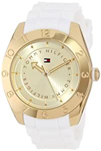 Tommy Hilfiger Women's 1781354 Stainless Steel Case Silicone Strap Gold-Plated Numbered Bezel Watch
