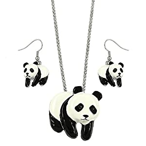 DianaL Boutique Panda Bear Charm Pendant Necklace and Earrings Set Gift Boxed Fashion Jewelry