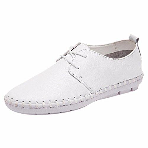Zapatos blancos con cordones de punta redonda formales Qiyun.z para mujer d6vk4n3