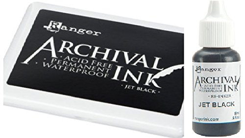 Ranger Archival Jet Black Permanent Dye Ink Stamp Pad & Re-Inker Refill by Ranger