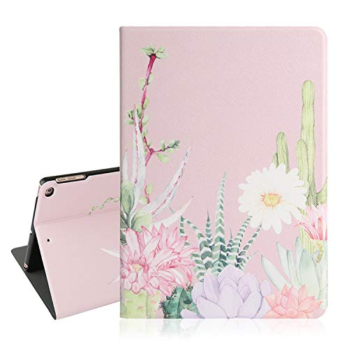 (Cactus iPad Case 9.7, Floral iPad 9.7 Case, Pink Tablet Case for iPad Air 2 with Auto Sleep Wake Function, Smart Lightweight Protective Cover for iPad 6th/5th Gen 2018 2017)