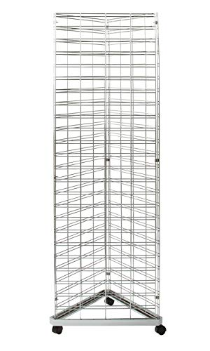 Chrome Triangle Slat Grid Tower with Base & Casters