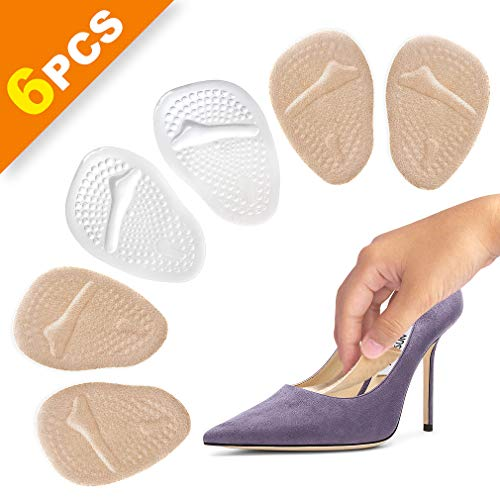 Ball of Foot Cushions, 3 Pairs Foot Pads/Metatarsal Pad/High Heel Inserts for Women, All Day Pain Relief and Comfort Soft Gel Insole Pads Reusable Forefoot Cushion Orthotics for Women & Men
