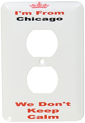 3dRose lsp_180038_6 dont keep calm, Chicago, red and black lettering on white background - 2 Plug Outlet Cover