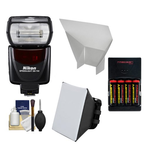 Nikon SB-700 AF Speedlight Flash with Softbox + Bounce Reflector + (4) Batteries & Charger + Accessory Kit for D40, D60, D3000, D3100, D5000, D5100, D7000, D300s, D3 &amp, D3s (Nikon Dslr D300s Kit)