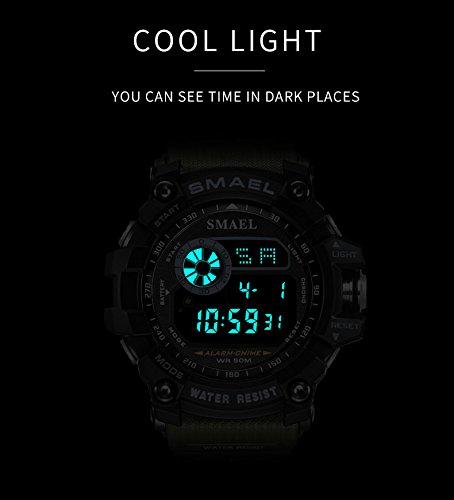 Amazon.com: Mens Digital Sports Watches Multifunctional Large Military 50M Waterproof LED Alarm Backlight Super Cool Watch (Orange): Watches