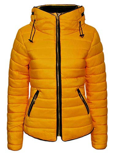 Sleeves Bubble Zip Love Jacket Long Yellow Plus Quilted Warm Fashions Knitted My Ladies Winter Mustard Fur Padded Collar Women Puffer Size Coat Up O7gO0w