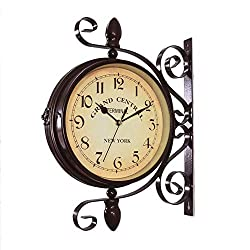 XJ&DD Vintage Double Sided Wall Clock,Metal Silent Decor Wall Clock,Outdoor Indoor Glass Cover Quartz Hanging Wall Clock-c 16inch