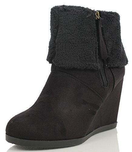 Delicious Women's Daphne Faux Suede Shearling Faux Fur Cuff Ankle Boot (Black, 10 M)