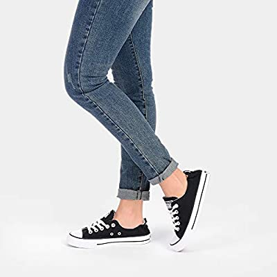 JENN ARDOR Women's Fashion Canvas Shoes Elastic Collar Slip-on Low Top Lace Up Sneakers Casual Walking Flats | Fashion Sneakers