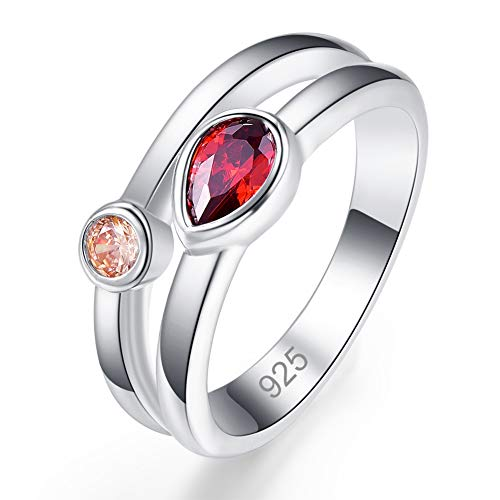 Humasol 925 Sterling Silver Filled Lab-Created Garnet & Morganite Mother Daughter Ring Stacking Band for Women ()