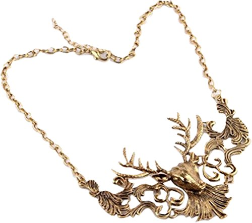 [Christmas Deer Head Shape Collar Necklace Elk Antlers Pendant Antique Hinged Plate Fashion Jewelry] (Labor Day Parade Costumes For Sale)