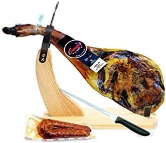 Jamón Ibérico (Paleta de Cebo Ibérica 4.5-5 kg) + Jamonero + Cuchillo + Chorizo Ibérico. - Lote Gourmet Paletilla Ibérica y embutido de Extremadura.