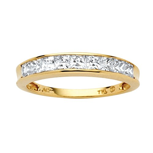 ubic Zirconia 10k Yellow Gold Channel-Set Anniversary Ring Band ()