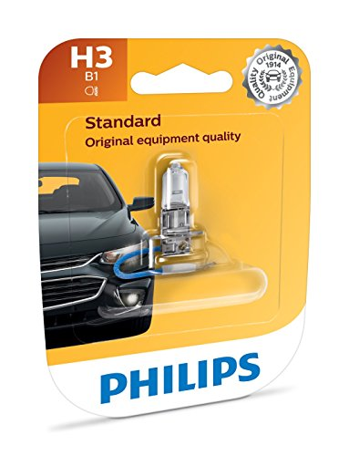Philips H3 Standard Halogen Replacement Headlight Bulb, 1 Pack